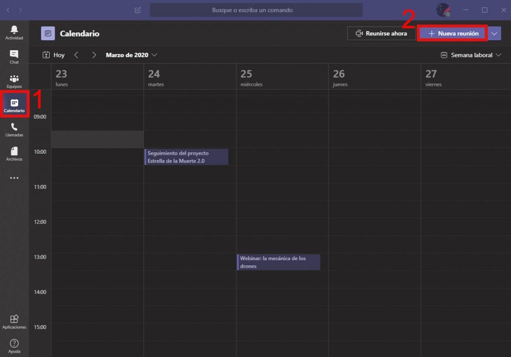 Nueva reunion desde calendario en Microsoft Teams