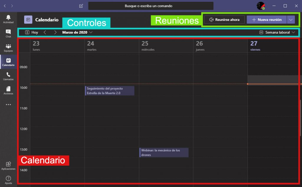 Calendario Microsoft Teams App Home