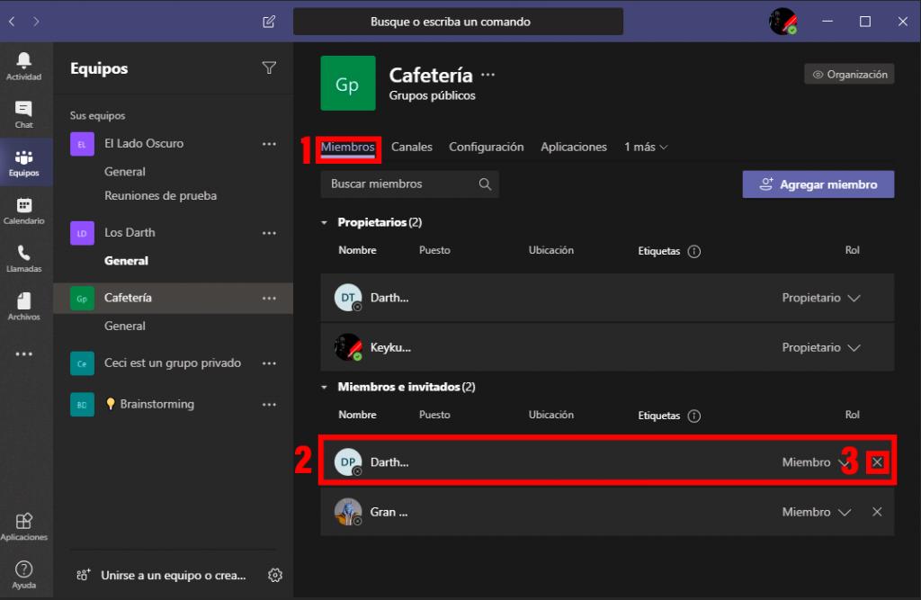 Cómo quitar miembros equipo en Microsoft Teams