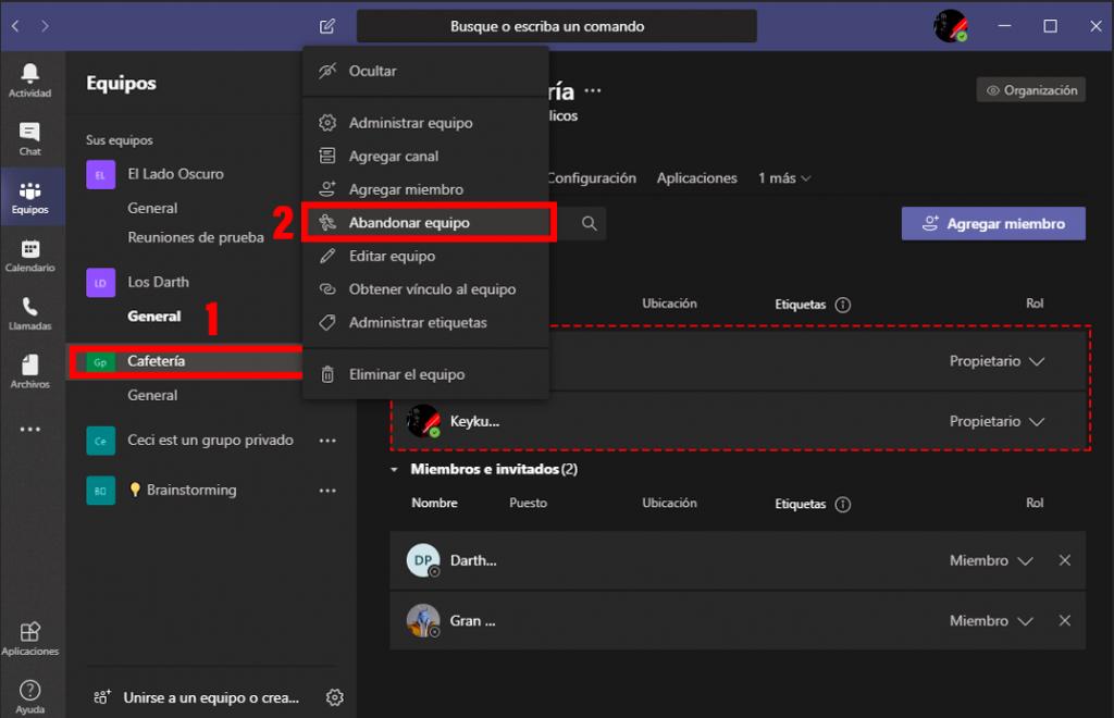 Cómo abandonar equipo en Microsoft Teams