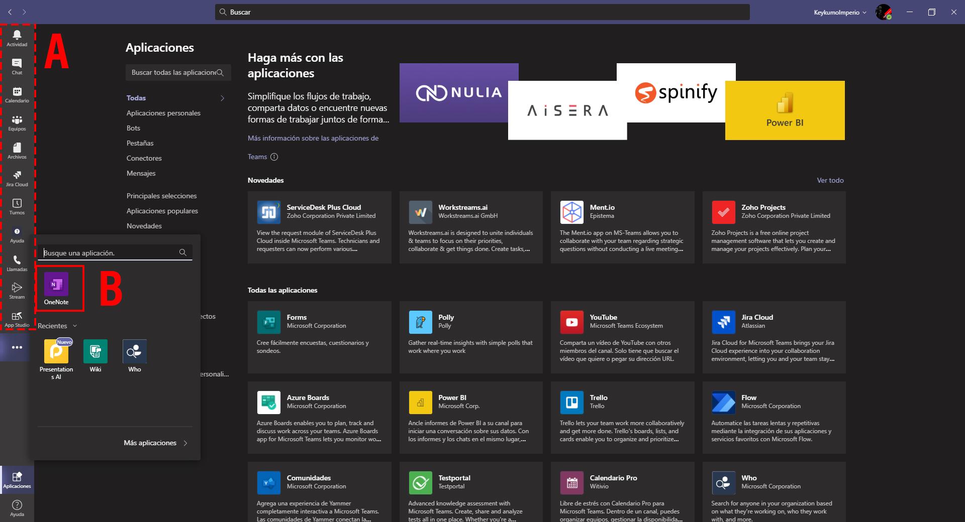 Aplicaciones ancladas en Microsoft Teams