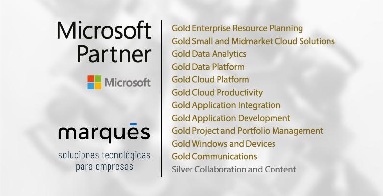 Marqués, Gold Partner de Microsoft, alcanza 12 competencias en 2021