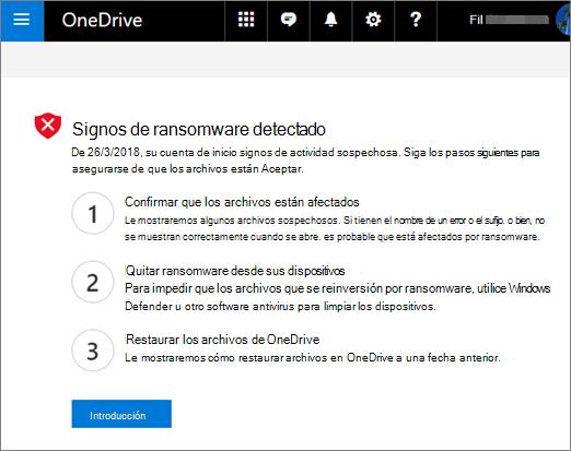 OneDrive signos de ransomware detectado